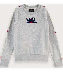 scotch & soda cotton blend branded long sleeve sweatshirt