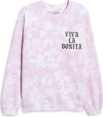 women's viva la bonita cloud tie dye crewneck pullover, size large - pink