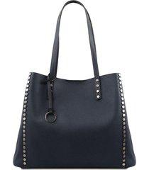 tuscany leather tl141735 tl bag - borsa shopping in pelle morbida blu scuro
