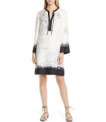 women's etro cheetah & floral print long sleeve silk shift dress, size 4 us - ivory