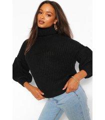 chunky balloon sleeve roll neck sweater, black