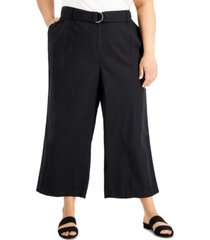 calvin klein plus size wide-leg belted pants