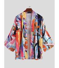 incerun cárdigan kimono estampado de moda estampado multicolor multicolor casual para hombre