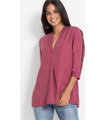 lange blouse van tencel met pailletten