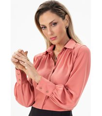 camisa feminina coral mangas amplas