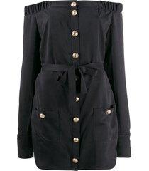 balmain off-the-shoulder tie-waist mini dress - black