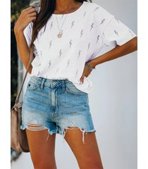 yoins flash camiseta con estampado gráfico cuello shorts sleeves tee