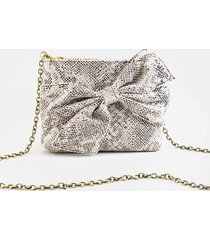 garner knotted snake chain clutch - gray