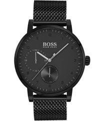 boss hugo boss men's oxygen black stainless steel mesh bracelet watch 42mm