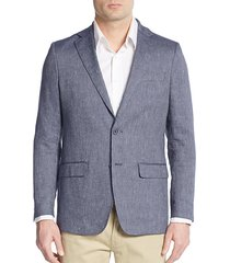 ribbed slub linen & cotton blazer
