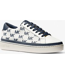 mk sneaker chapman in pelle e logo jacquard - navy (blu) - michael kors