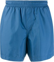 ermenegildo zegna elasticated waist multi-pocket swim shorts - blue