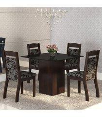 mesa de jantar 4 lugares brilho ameixa/cobre/preto - mobilarte móveis
