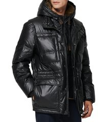 men's andrew marc kincaid quilted down coat with faux fur trim, size x-large - black