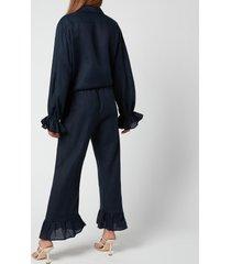 sleeper women's rumba linen lounge suit - navy - m