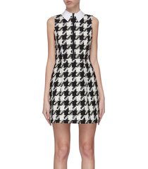 'ellis' houndstooth collar zip front dress