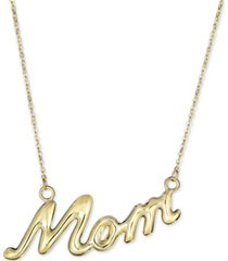 """mom"" 18"" pendant necklace in 10k gold"