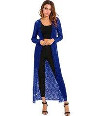 zanzea 2018 otoño prendas de abrigo de encaje de ganchillo kimono cardigan blusas de manga larga floja ocasional de tapas largas blusas camisas más el tamaño azul real -azul
