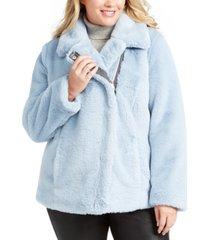 calvin klein plus size asymmetrical faux-fur coat