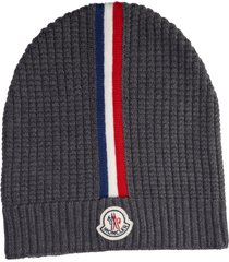 men's moncler stripe wool beanie - black