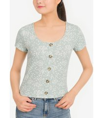 pink rose juniors' rib-knit button-trimmed top