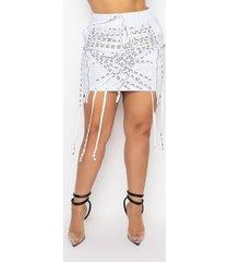 akira plus all tied up lace up stretch mini skirt