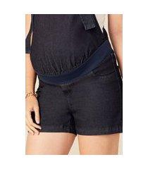 macacão megadose moda gestante curto azul jeans