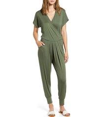 women's loveappella short sleeve wrap top jumpsuit, size large - green