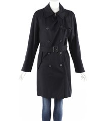 maison martin margiela blue cotton belted double breasted trench coat blue sz: m