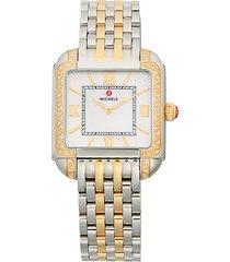 two-tone stainless steel & diamond bracelet watch