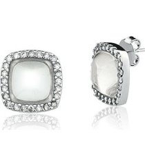 brinco toque de joia grume quartzo cristal com zircônia