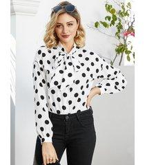 yoins blusa blanca de manga larga con lunares y bowknot