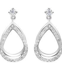orecchini pendenti a goccia in argento rodiato e zirconi bianchi per donna