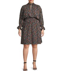 plus floral-print blouson dress