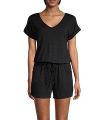 lea & viola women's solid blouson romper - black - size xs
