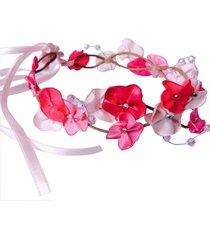 headband fuxicos & frescuras coroa de fada dupla tons de rosa