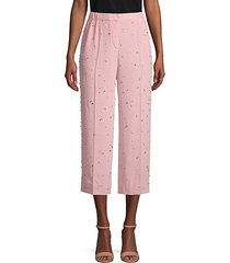 embellished cropped silk pants