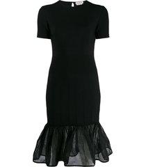 alexander mcqueen sheer peplum hem dress - black