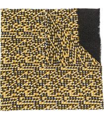altea cachecol com padronagem chevron com barra desfiada - amarelo