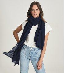 reiss heidi - wool cashmere lightweight scarf in navy, womens