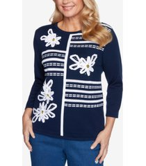 alfred dunner petite lazy daisy ribbon floral-applique sweater