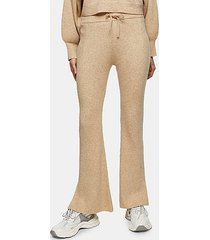 oat flare knitted pants with wool - oatmeal