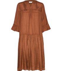kathea 3/4s dress knälång klänning brun kaffe