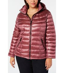 calvin klein plus size hooded packable down puffer coat, created for macy's
