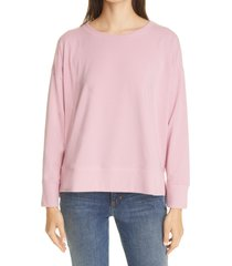 women's eileen fisher crewneck high-low sweatshirt, size medium - pink