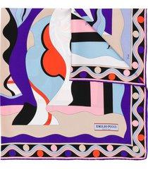 emilio pucci vallauris print silk-twill square scarf - purple