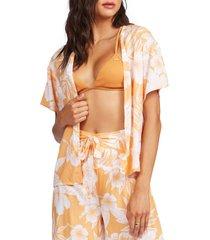 women's roxy golden shore floral open front top, size x-small - orange