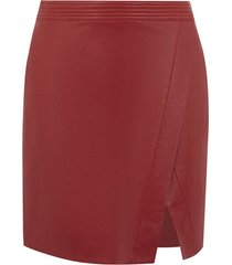 wrap faux leather skirt