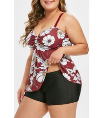 floral ruched contrast plus size tankini swimsuit