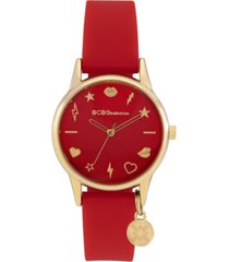 bcbgeneration ladies 3 hands slim red silicone strap watch, 33 mm case